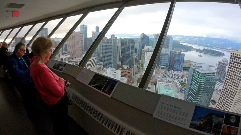VANCOUVER, CANADA - 360 degree views are available at Vancouver Lookout in downtown Vancouver. The o