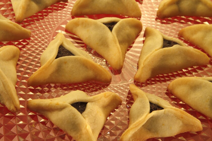 Hamantaschen, a traditional Purim pastry.