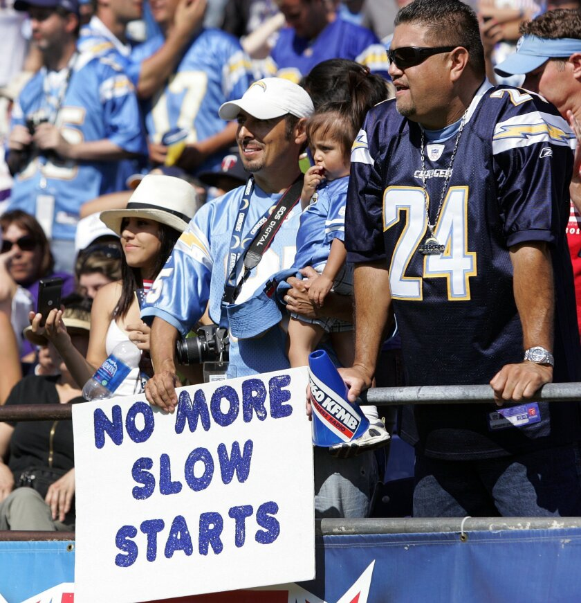 A fan holds up a sign pointing out the Chargers slow start against the  Vikings.