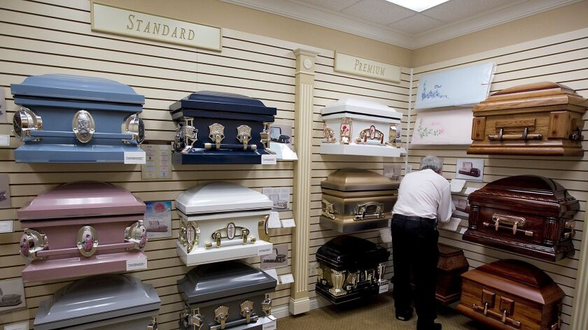 A selection of caskets at the Rose Mortuary in Palm Desert in Nov. of 2011.
