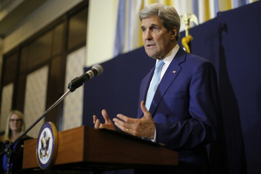 """U.S. Secretary of State John Kerry speaks at a news conference in Sharm el-Sheikh, Egypt, Saturday, March 14, 2015. Kerry said he's returning to nuclear negotiations with Iran with """"important gaps"""" standing in the way of a deal. He spoke Saturday in the Egyptian resort, where he attended an economi"""