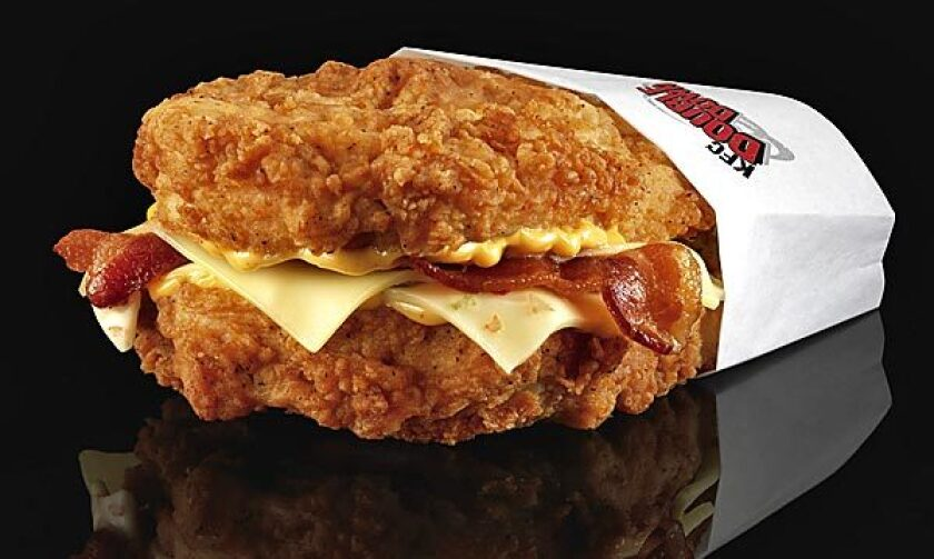 Fried chicken replaces bread in the KFC Double Down.