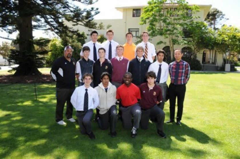 Front Row: Bryan Edwards, Charlie de la Lama, Reggie Davis and Austin Benham. Middle Row: Head Coach Matt Brumbaugh, Jackson Kalench, Tony Sotornik, Addie Lana, Ian Tierney, Patricio Acosta and Assistant Coach Marcus Chang. Back Row: Brian Kim, Reed Petroski, William Drummond and Chase Lauer. (Not pictured: Ben Brewer, John Takiff, Ian Caples and Anthony DiChiara). Courtesy