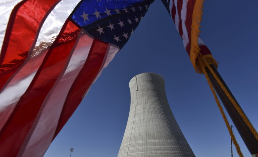 In this March 2019 file photo, the construction site Vogtle Electric Generating Plant in Wayneboro, Ga., is seen. The Nuclear Regulatory Commission will look at cutting back on inspections of the country's nuclear reactors.