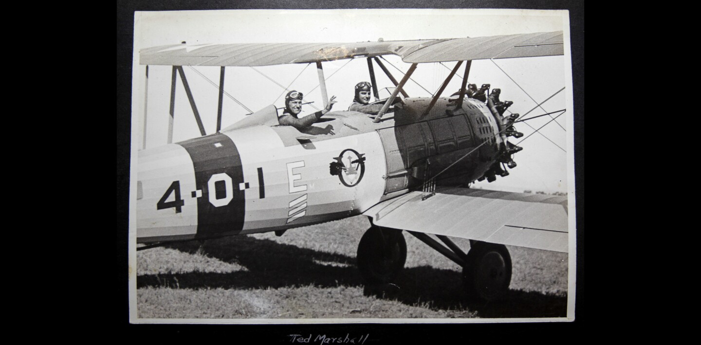 A photo of a biplane taken in the late 1920's that was brought in by Randy Dible.