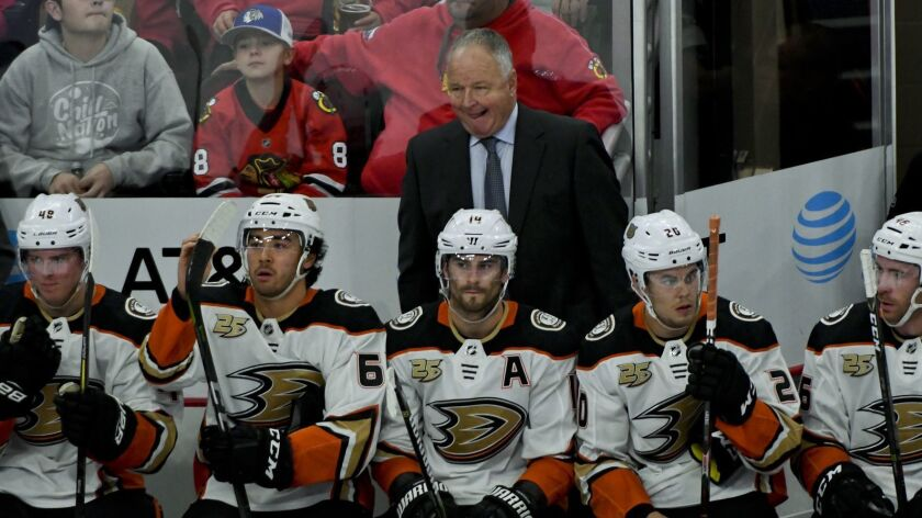 Anaheim Ducks head coach Randy Carlyle during the second period of an NHL hockey game against the Ch
