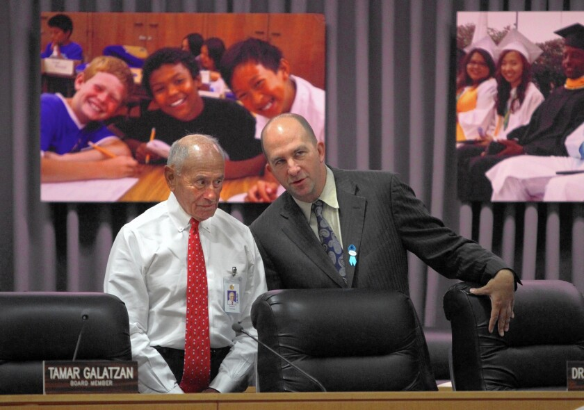 """L.A. Unified Supt. Ramon C. Cortines, left, shown with school board member Steven Zimmer, says in a statement that the inspector general's report on the student records system """"validates concerns"""" about the rollout and """"lays bare the work ahead for the district."""""""