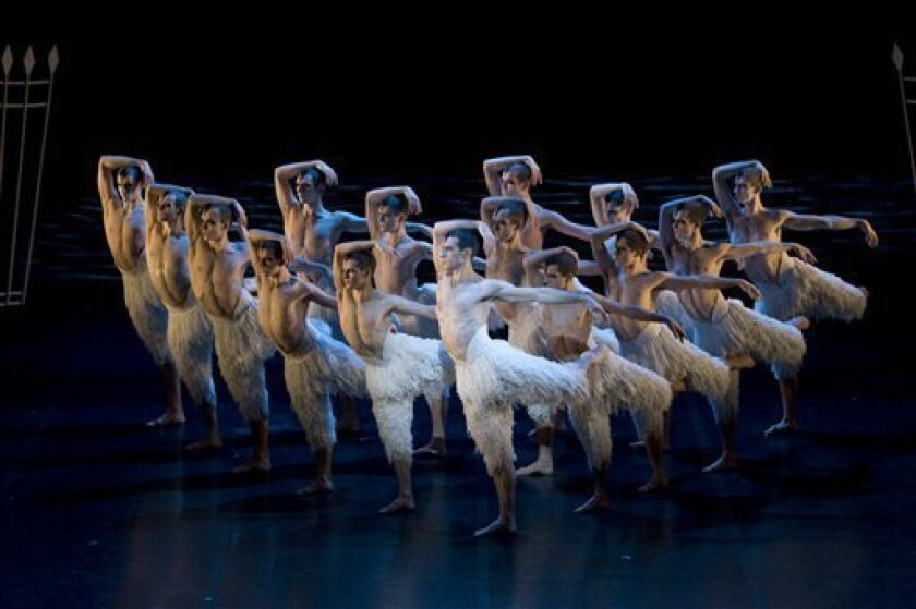 """In this Dec. 15, 2009 publicity image released by Matthew Bourne's Swan Lake, the cast is shown from """"Matthew Bourne's Swan Lake."""" Bourne's reinterpretation of the classic ballet, which he directed and choreographed, will play in a limited engagement Oct. 13-Nov. 7 at New York City Center. (AP Photo/Matthew Bourne's Swan Lake, Bill Cooper)"""