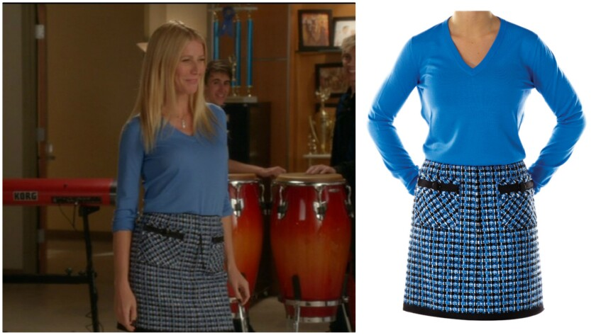 "Gwyneth Paltrow as Holly Holliday in the Fox TV series ""Glee,"" left, and the blue V-neck shirt and and tweed wool Marc Jacobs skirt she wore, right."