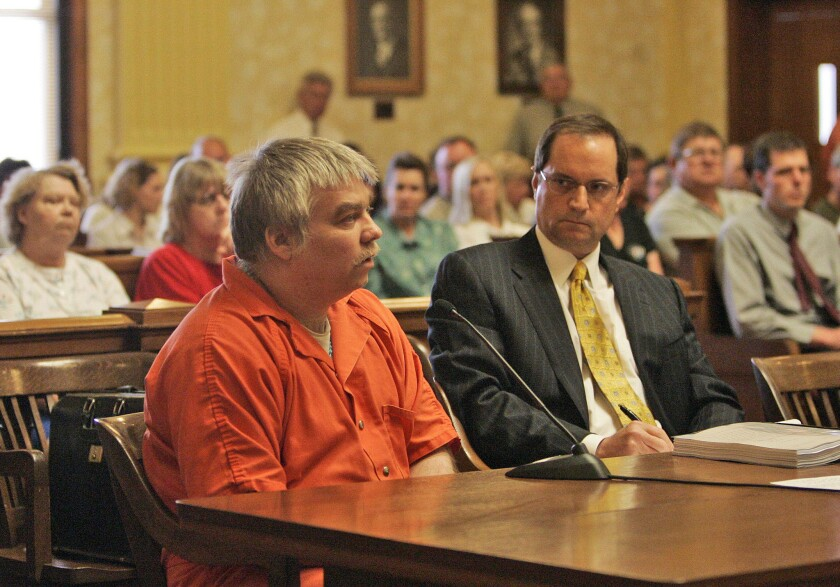 Steven Avery, left, appears during his sentencing as his attorney, Jerome Buting, listens at the Manitowoc County Courthouse in Wisconsin in 2007.