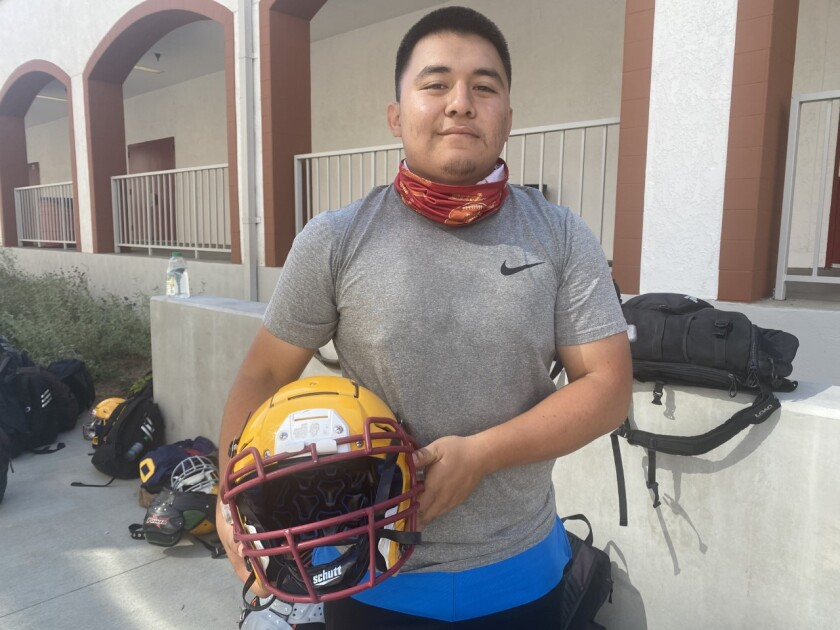 Fredy Perez, a 5-foot-5, 200-pound offensive guard, is a key lineman in the double-wing offense for Los Angeles Roosevelt.