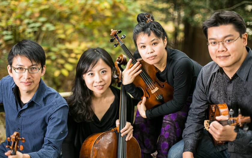 "The Formosa Quartet, from left: violinist Wayne Lee, cellist Ru-Pei Yeh, violinist Jasmine Lin and violist Che-Yen (""Brian"") Chen."