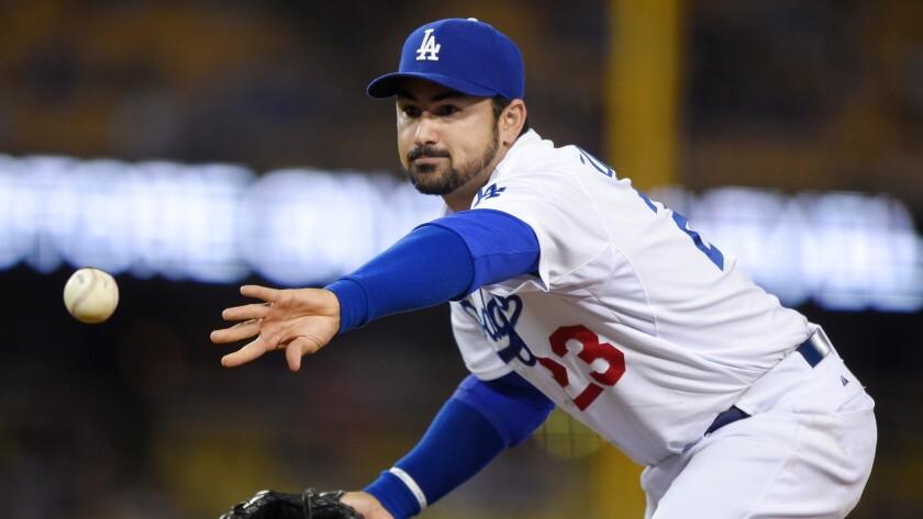 Dodgers firstbaseman Adrian Gonzalez plays on May 26, 2015, at Dodger Stadium.