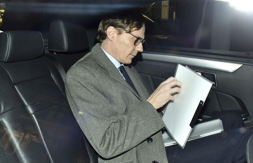 Alexander Nix, chief executive of Cambridge Analytica, in a car.