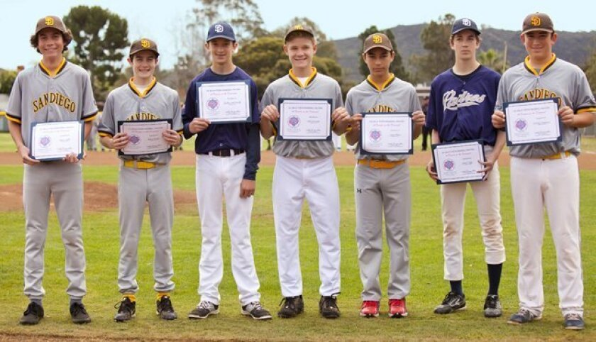 Seven Pony players were honored for their 'Decade on the Diamond,' playing 10 consecutive years of La Jolla Youth Baseball: Marcus Scott, Bobby Murphy, Lachlan MacDonald, Cade Kronemyer, Jesus Labra, Jacob Duffy and Michael Campagna. (La Jolla Youth Baseball, Opening Day Feb. 28, 2015, Cliffridge P