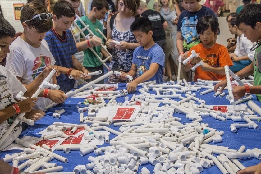 Hands-on activities include using lengths of PVC pipe to make 'marshmallow shooters' during Maker Faire San Diego, held Oct. 3-4, 2015 in Balboa Park.