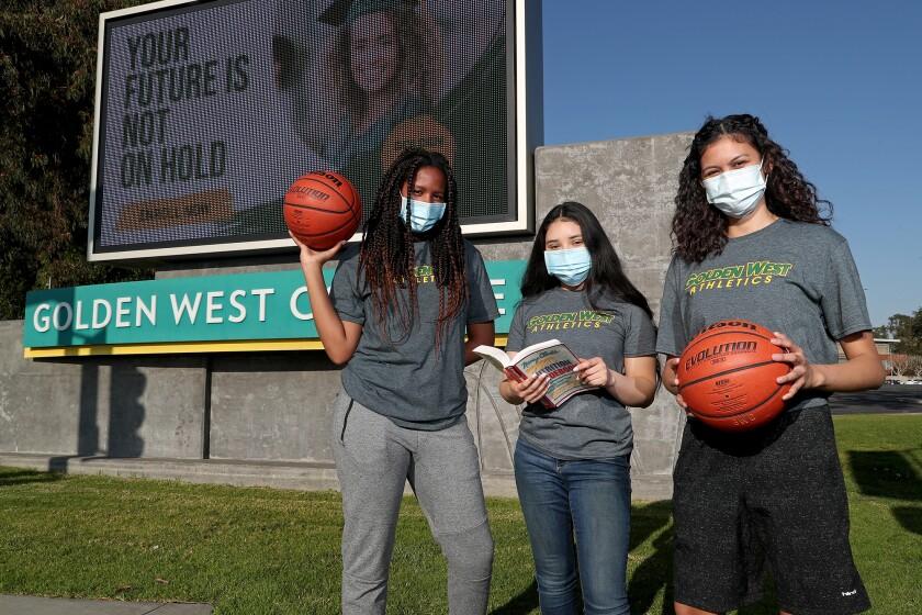 Golden West College women's basketball players Reyna McMorris, Neylin Zecua and Liliana Parreno