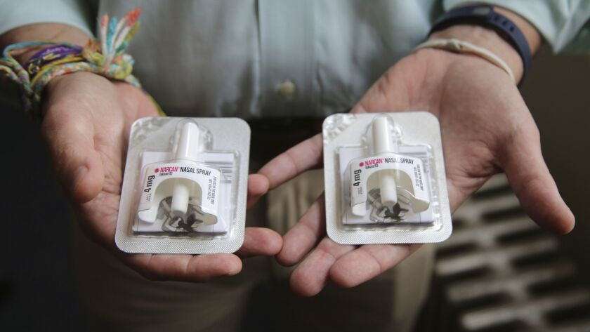 Naloxone, an overdose-reversal nasal spray drug. Last year in San Francisco, about 1,200 potentially fatal overdoses were reversed by regular folks administering the drug.