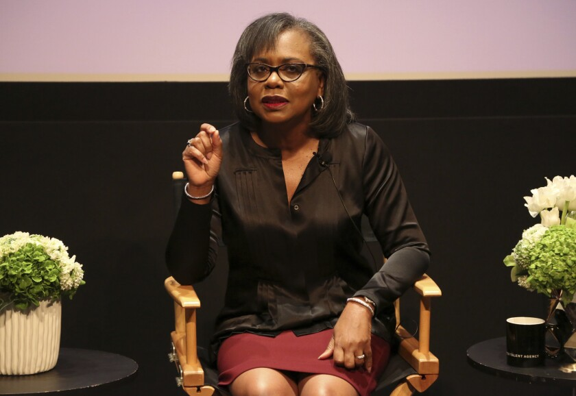 Anita Hill speaks at a discussion about sexual harassment and how to create lasting change from the scandal roiling Hollywood at United Talent Agency in Beverly Hills, Calif. on Dec. 8, 2017.