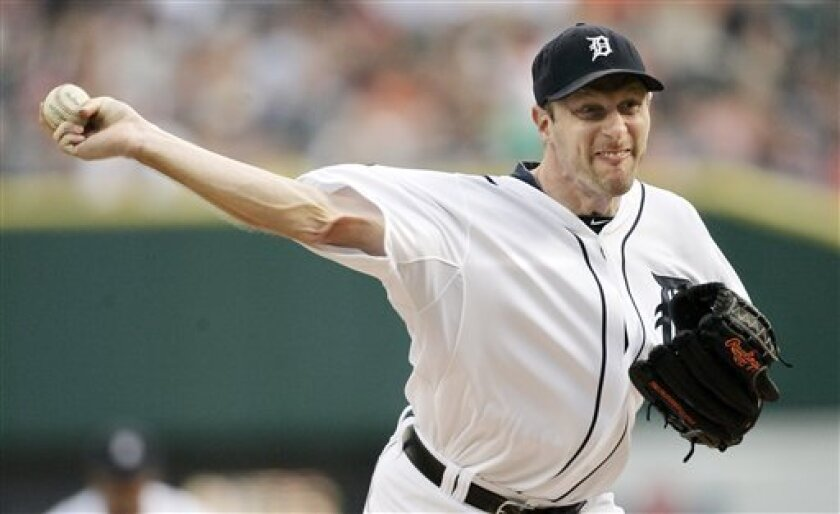 Detroit Tigers starter Max Scherzer works against the Seattle Mariners in the third inning of a baseball game Saturday, June 11, 2011 in Detroit. (AP Photo/Duane Burleson)