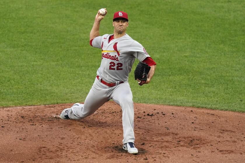 St. Louis Cardinals starting pitcher Jack Flaherty throws during the first inning of a baseball game against the Kansas City Royals Friday, Aug. 13, 2021, in Kansas City, Mo. (AP Photo/Charlie Riedel)