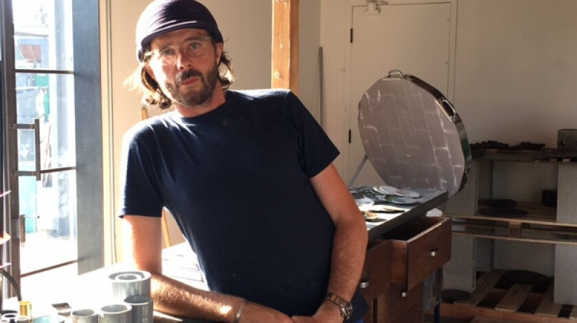 Artist Frédérick Gautier in his studio by the L.A. River.