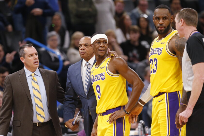 Lakers point guard Rajon Rondo (9) leaves the court after he was ejected from the game against the Thunder on Nov. 22, 2019, in Oklahoma City.