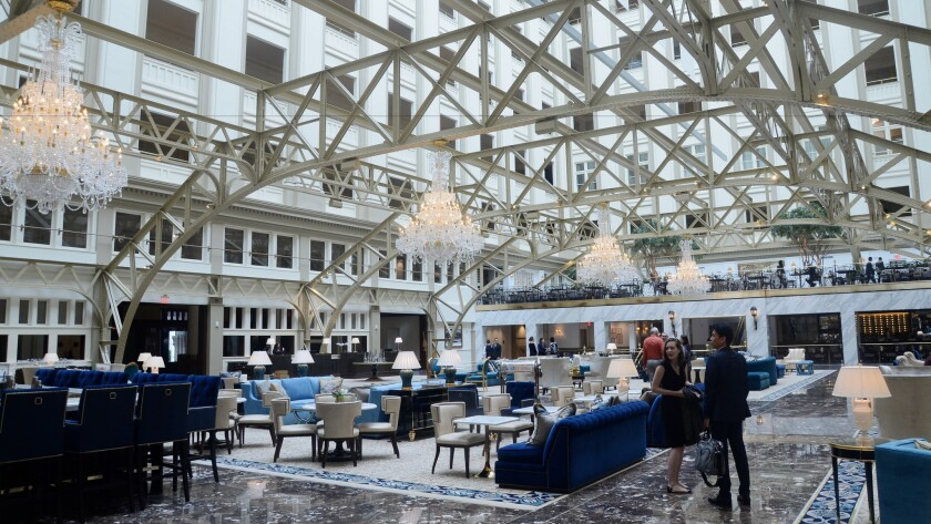 The Trump International Hotel, on Pennsylvania Avenue in northwest Washington, D.C., opened in September 2016 in the revamped Old Post Office building.