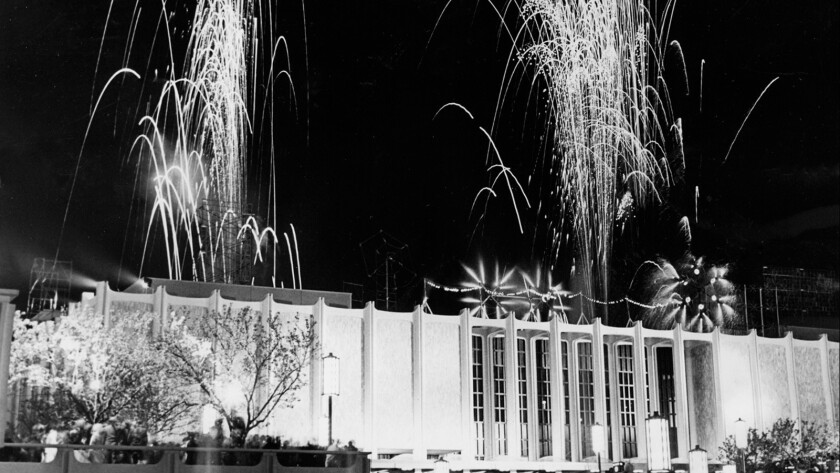 The sky above LACMA is lighted by a colorful fireworks show during formal dedication ceremonies on opening night, March 30, 1965.