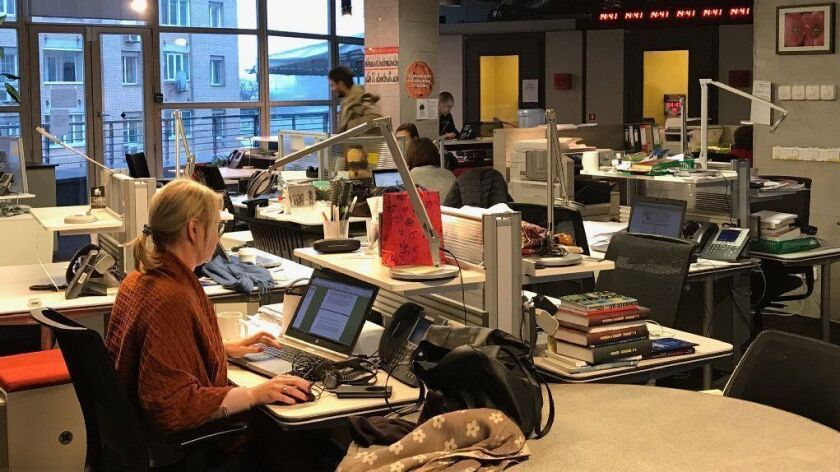 Journalists work in the Moscow bureau of Radio Free Europe on Nov. 16, 2017.