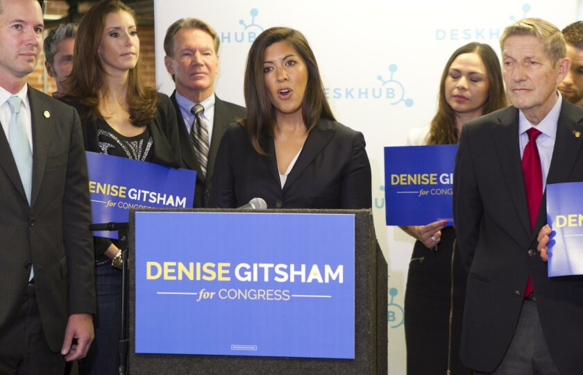 """Denise Gitsham announced her candidacy for the House of Representatives in November. In a speech on Wednesday, she said she's """"ambiguously ethnic enough to pass"""" for a political job working with Hispanics."""