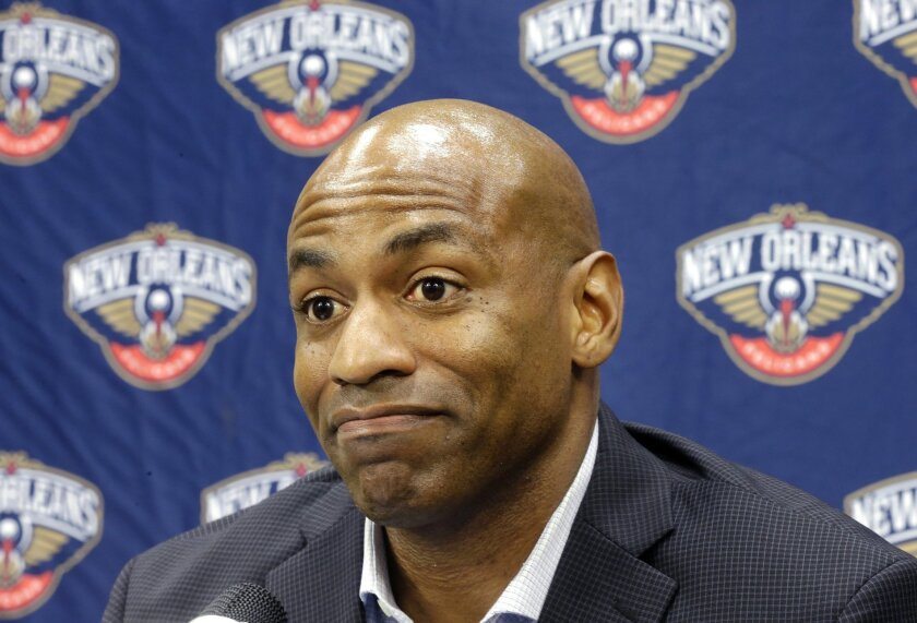 FILE - IN this May 12, 2015, file photo, New Orleans Pelicans general manager Dell Demps speaks during an NBA basketball news conference at the team's practice facility in Metairie, La. The injury-riddled Pelicans are unlikely to be a major player in NBA trades before Thursday's deadline.  (AP Phot