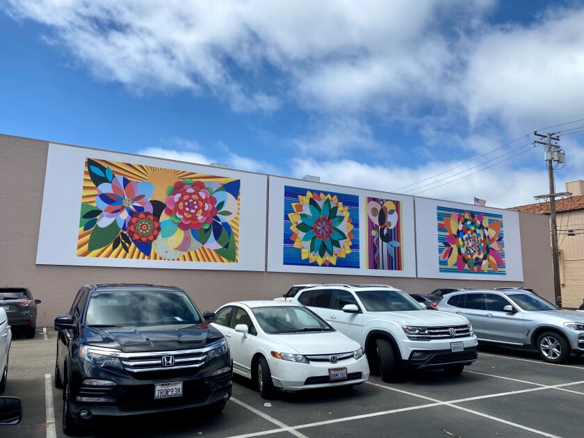 "Beatriz Milhazes' mural, ""Gamboa Seasons in La Jolla,"" is now installed at 1111 Prospect St."