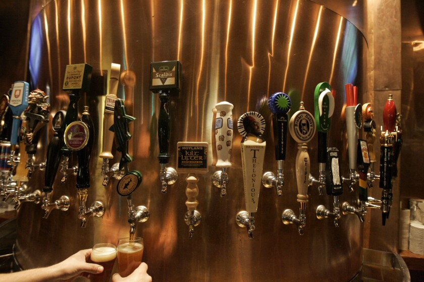 Some of the 30 beer taps at Stout Burgers and Beer in Hollywood