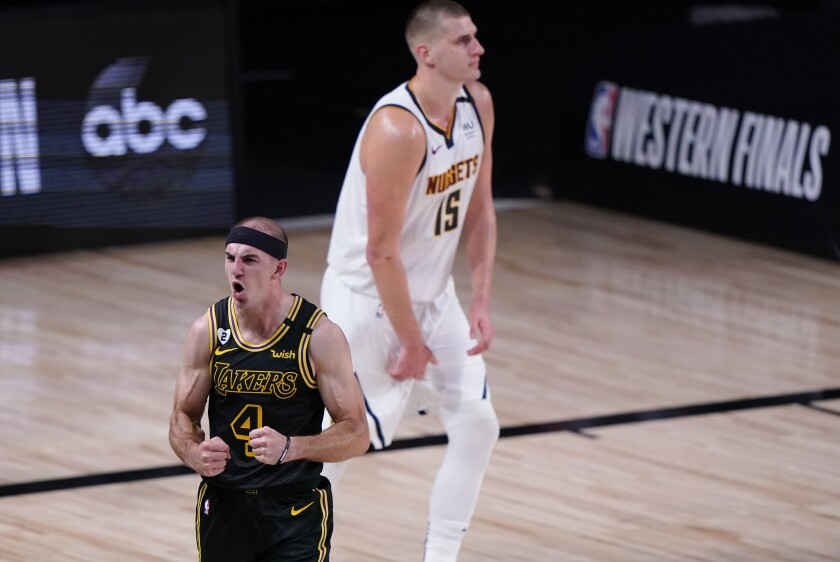 Guard Alex Caruso reacts after the Lakers stopped the Nuggets from scoring late in the game on Sept. 20, 2020.