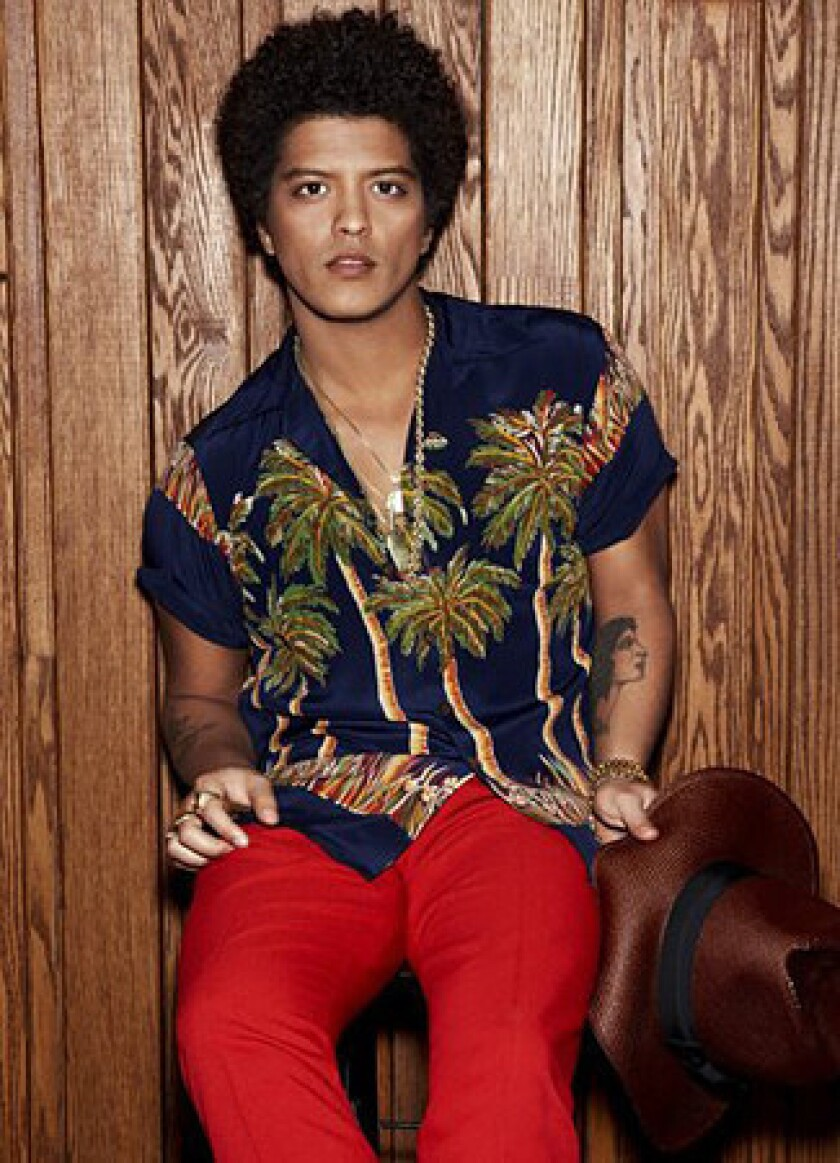 Bruno Mars performed the first of two sold-out shows at Staples Center on Saturday night.