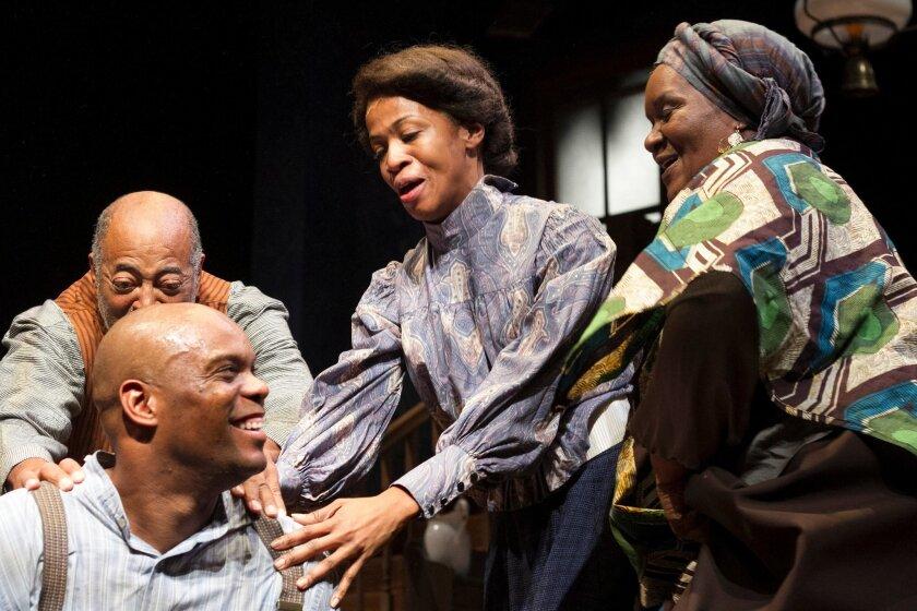 "Laurence Brown (front left), Antonio ""TJ"" Johnson, Melva Graham and Brenda Phillips in Cygnet Theatre's ""Gem of the Ocean."""