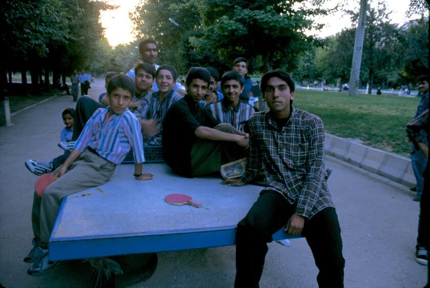 Ping-pong players in a park, Shiraz, Iran, 1998.