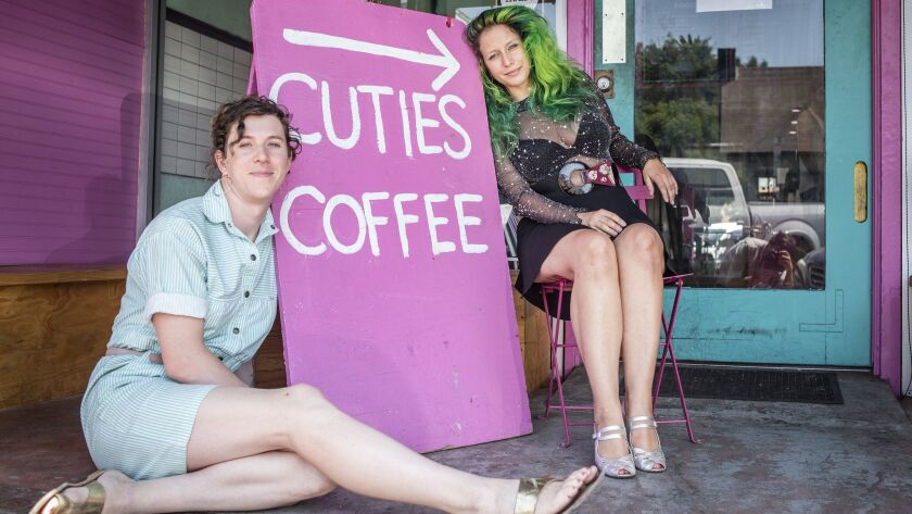 EAST HOLLYWOOD CA AUGUST 31, 2018 -- Cuties Coffee co-owners Virginia Bauman, left, and Iris Bainu