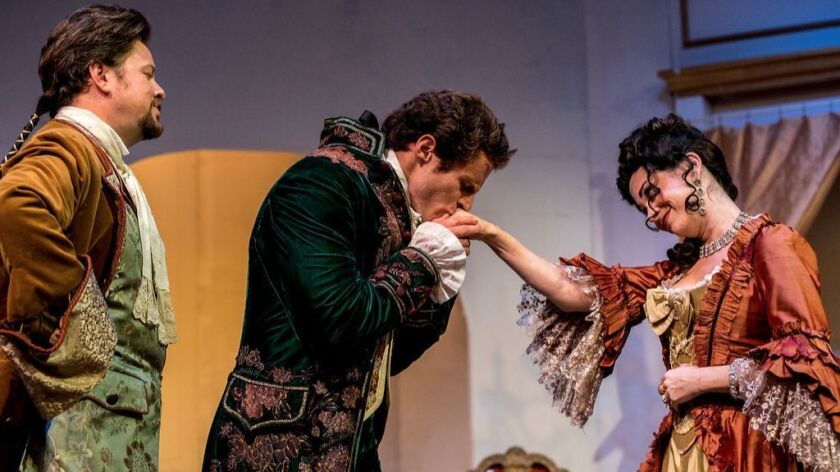 "Richard Baird, Connor Sullivan and Jessica John (from left) in New Fortune Theatre's ""Les Liaisons Dangereuses."""