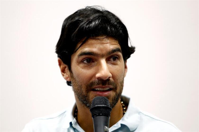 Uruguayan soccer player Sebastian 'Loco' Abreu at a press conference in Montevideo on April 4, 2017. EPA- EFE/Raúl Martínez