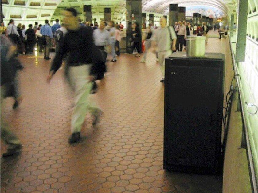 A pathogen detector at a subway station in Washington.