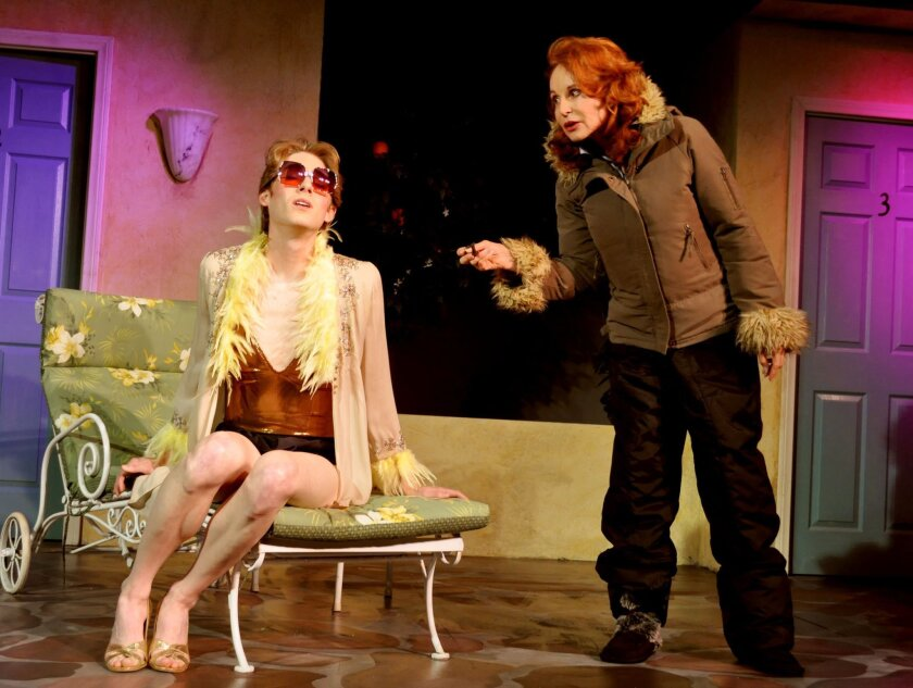 """Benjamin Cole and Jill Drexler in Moxie Theatre's """"Coming Attractions."""""""