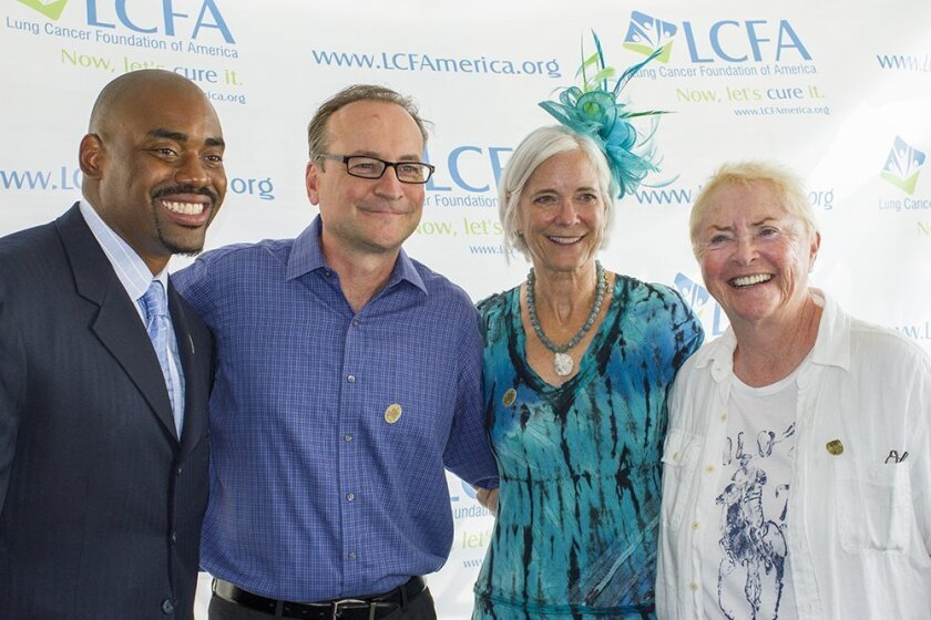 """At the 2014 Lung Cancer Foundation of America """"Day at the Races"""" event: L-R: Chris Draft, former NFL player; Tim Conway, Jr., talk show host; Kim Norris, president of the Lung Cancer Foundation of America; Susan Flannery, actress and soap opera icon. Courtesy photo"""
