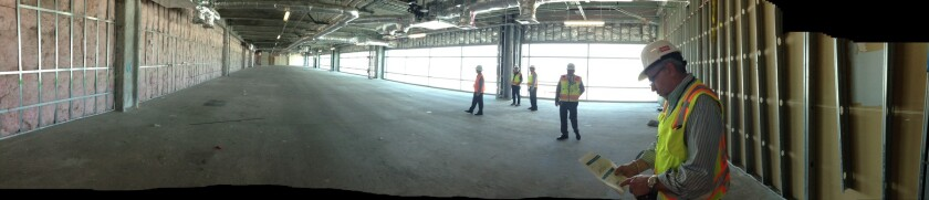 This panoramic shot shows a third-floor space in Terminal 2 where the automated passport control are