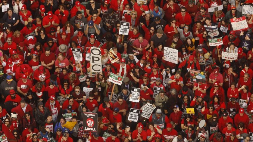 LOS ANGELES, CA - JANUARY 18, 2019 - - Thousands of educators with the United Teachers Los Angeles a