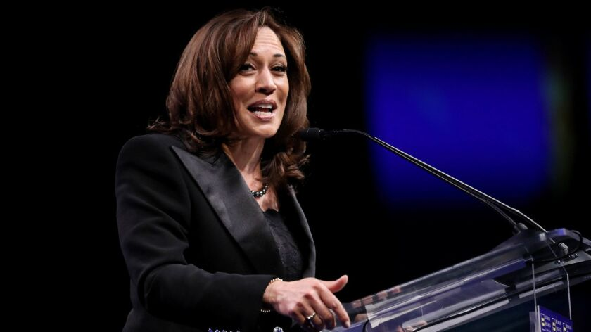 """Sen. Kamala Harris, shown in Los Angeles in March, said during a town hall in New Hampshire on Monday that """"Congress should take the steps towards impeachment."""""""