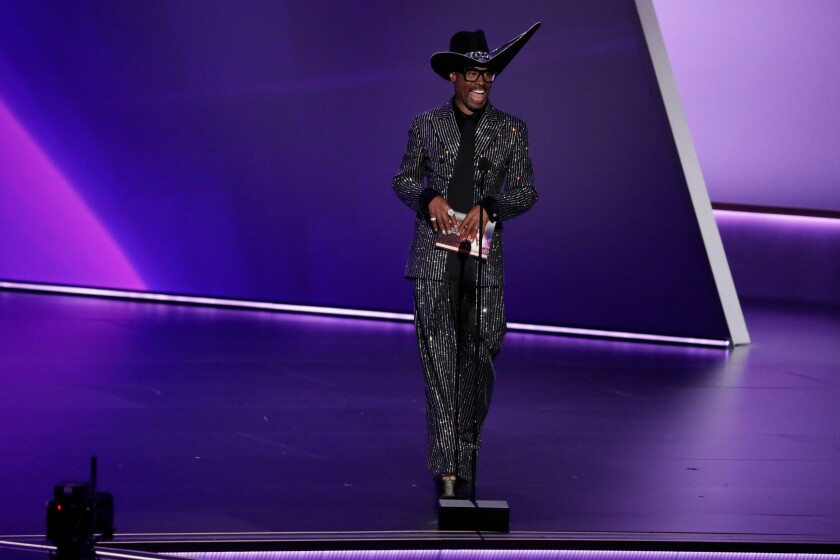 Billy Porter presents an award at Sunday's Emmys ceremony.