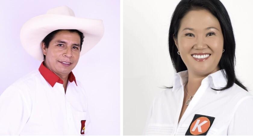 Pedro Castillo y Keiko Fujimori se disputan la presidencia de Perú en los comicios programados para el 6 de junio de 2021.