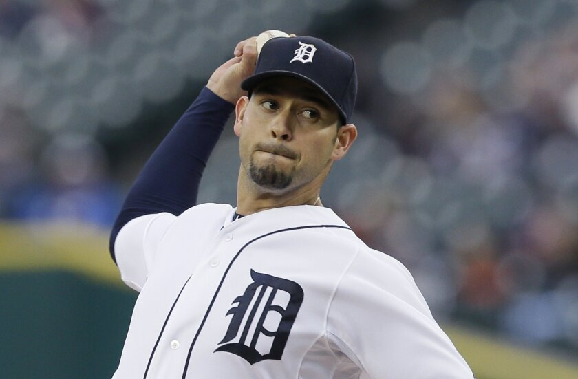 Detroit Tigers starting pitcher Anibal Sanchez throws during the first inning of an interleague baseball game against the Milwaukee Brewers, Tuesday, May 19, 2015, in Detroit. (AP Photo/Carlos Osorio)